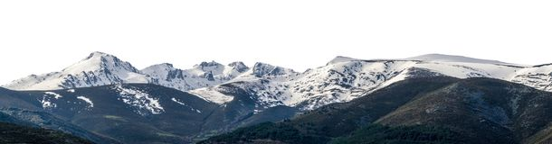 Snowy panoramic landscape isolated over white Royalty Free Stock Photography
