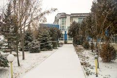 Snowy pansion in Pomorie, Bulgaria Stock Photos