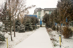 Snowy-pansion in Pomorie, Bulgarien Stockfotos