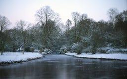 Snowy-Park lizenzfreie stockfotografie