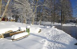 Snowy park details Royalty Free Stock Photography