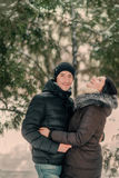 In a snowy park husband and wife Royalty Free Stock Photography