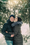 In a snowy park husband and wife Royalty Free Stock Photos