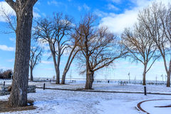 Snowy Park in Tecumseh. Snowy scene in park located in Tecumseh Royalty Free Stock Photos