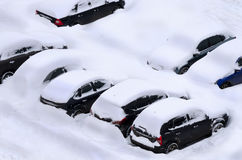 Snowy parking Royalty Free Stock Photo