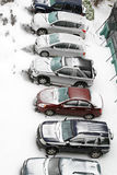 Snowy parking Royalty Free Stock Image