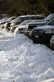 Snowy Parking. Snow piled up in parking lot Stock Images