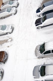 Snowy parking lot Stock Images