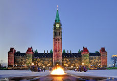 Snowy Parliament. The Canadian Parliament Centre Block and the Centennial flame decorated for the christmas season Stock Photography