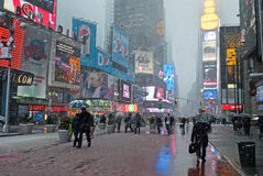 Snowy Pass Through Times Square stock images