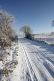 Snowy path in Aisne Royalty Free Stock Images