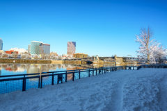 Snowy Path in Portland Royalty Free Stock Photography