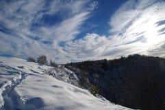 Snowy pathway Stock Photo