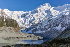 Snowy peak in Aoraki/Mount Cook National Park, New Zealand Royalty Free Stock Photos