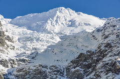 Snowy peak in Aoraki/Mount Cook National Park, New Zealand Royalty Free Stock Images