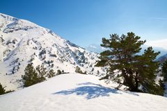 Pyrenees in Spain. Snowy peak in Canfranc Valley, Aragon, Huesca, Spain Stock Photos