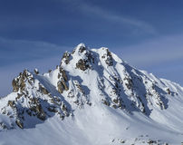 Snowy peak in the French Alpes Stock Photos