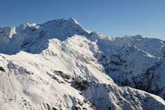 The Snowy Peak of Mt Rolleston Viewed from Avalanche Peak. Stock Photo