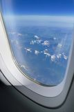 Alps from aircraft window Royalty Free Stock Images