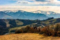 Snowy peaks of Carpathian mountain ridge Stock Image