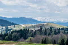 Snowy peaks of the Carpathian Mountains stock photography