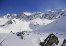 Snowy peaks in the European Alps. Snowy Peaks: St.Anton am Arlberg Stock Photo