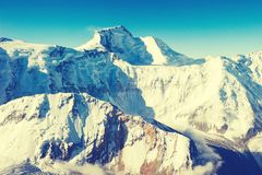 Snowy peaks at the Mont Blanc area. Mont Blanc mountain massif s Royalty Free Stock Photo