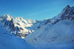 Snowy peaks at the Mont Blanc area. Mont Blanc mountain massif s Stock Photos