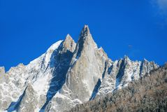 Snowy peaks at the Mont Blanc area. Mont Blanc mountain massif s Royalty Free Stock Image