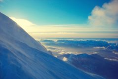Snowy peaks at the Mont Blanc area. Mont Blanc mountain massif s Stock Images