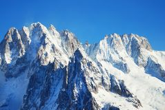 Snowy peaks at the Mont Blanc area. Mont Blanc mountain massif s Stock Photo