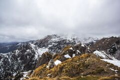 Snowy Peaks on Mountainous Landscape Royalty Free Stock Photography