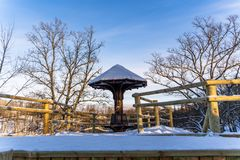 Snowy Photo of the Park on a Sunny Winter day - Wooden Footpath in the Middle of it, Concept of the Harmony and Travel. In the Countryside royalty free stock photography