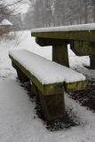 Snowy picnic bench Stock Photography
