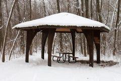Snowy Picnic Pavilion Royalty Free Stock Photography
