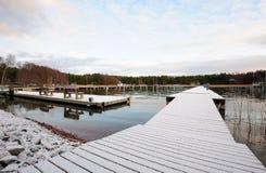 Snowy pier Royalty Free Stock Photo