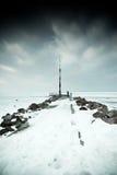 Snowy pier Stock Photography
