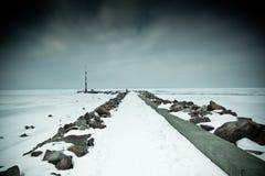 Snowy pier Stock Photo