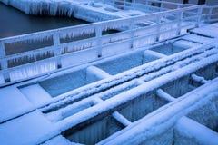 Snowy pier at Baltic Sea in Gdansk. Frozen pier at Baltic Sea in Gdansk, Poland Stock Photos