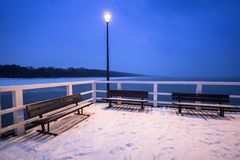 Snowy pier at Baltic Sea in Gdansk. Poland Stock Image