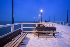 Snowy pier at Baltic Sea in Gdansk. Poland Royalty Free Stock Photos