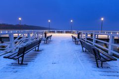Snowy pier at Baltic Sea in Gdansk. Poland Royalty Free Stock Images