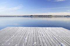 Snowy pier for boats on a frozen Istra reservoir Stock Images