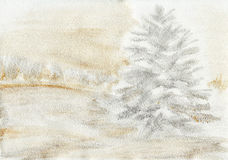Snowy pine painted background Stock Images