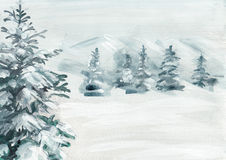 Snowy pine painted background. Abstract snowy land with pine tree hand painted background. High resolution scan Royalty Free Stock Images