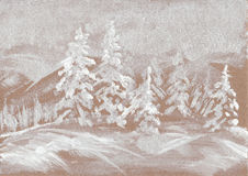 Snowy pine painted background Stock Photo
