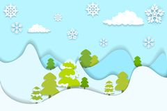 Snowy Pine Tree. Vector illustration of snowy pine tree in hilly landscape Stock Photography