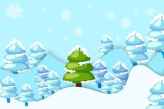 Snowy Pine Tree. Vector illustration of snowy pine tree in hilly landscape Royalty Free Stock Image
