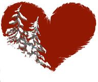 Snowy pine trees in heart shape illustration. Pine tree or christmas tree covered in snow on red heart background that is isolated on white royalty free illustration