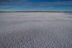 Snowy plain. Panoramic view of a bare snowy plain during the day stock image